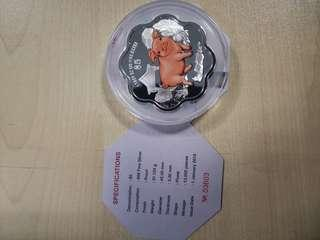 Pig coins 5 dollar by mas 1 troy of oz 999 fine silver coins