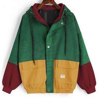 Long Sleeve Corduroy Patchwork Oversized Jacket
