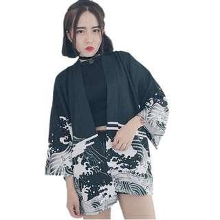 Vintage Waves Printed Chiffon Cardigan Kimono