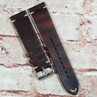 Sale : Premium Genuine Leather 22mm Watch Strap Dark Brown Colour Minimal Stitch (M9)