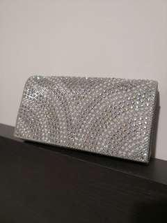 Silver metallic clutch (Small)