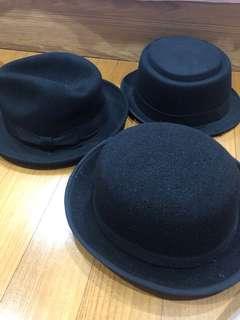 Topi Fedora Black ALL 3 pcs