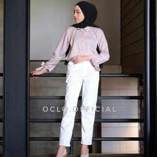 Jual rugi mikaila beige pants broken white xl by oclo