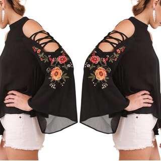 💋 Embroidery Chiffon Tops