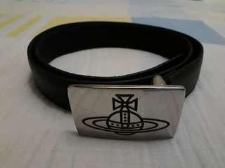 authentic vivienne westwood logo leather belt