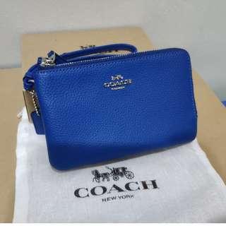 Double Corner Zip Wallet In Polished Pebble Leather