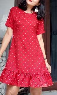 Midi dress polkadot red