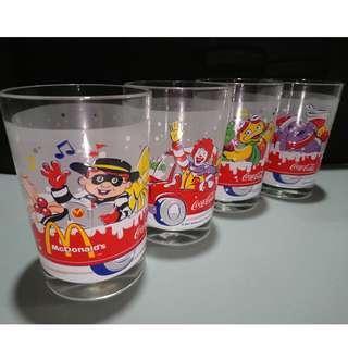McDonald's 2001 Coca Cola 4 Pieces Glass Set 麥當勞可口可樂玻璃杯 套裝