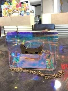 Tas Selempang Transparan Laser Kitty Hologram