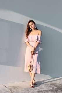 off-shoulder pink jumper
