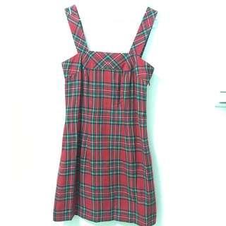 🚚 連身格紋裙