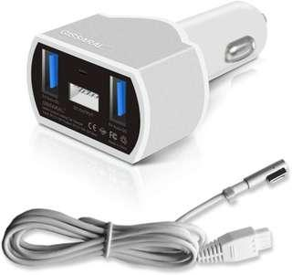 🚚 GISSARAL GISCCA-AM1 90W Laptop Car Charger for 2006 to 2012 MacBook Pro MacBook Air and MacBook; Dual USB Quick Charge for Apple or Android Smartphones and Tablets