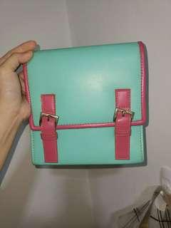 Pastel blue & pink sling bag
