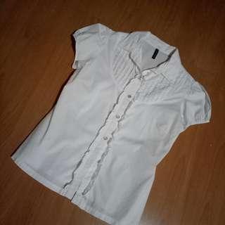 Nafnaf white ruffle blouse