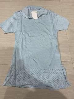 Polo shirt sky blue knit