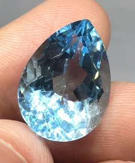 17.50 cts Natural American Blue Topaz Pear 13.7 x 18.9 x 9.9 mm Loose Gem