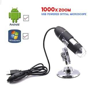 USB 2.0 Digital Microscope 1000 x Magnification 8-LED Mini Microscope Camera Magnifier with Stand 2 Mega Pixels