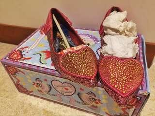 Irregular Choice Fushia Pink Heart Flats 36