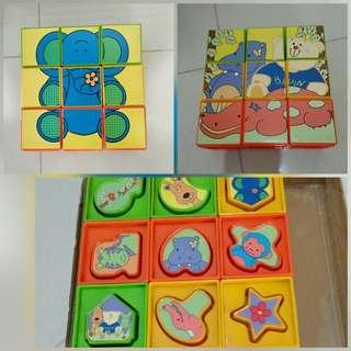 Shape sorting and puzzle blocks