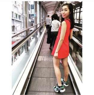 🚚 大紅色one piece洋裝 春夏必備 約會出遊拍照好上相 氣質好氣色 h&m Zara bershka