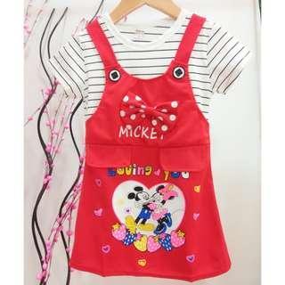 #Clear Stock# Mickey & Minnie Girls Dress ab077