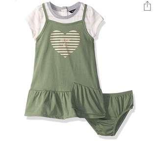 🚚 BN Nautica Baby Girl Two Piece Heart Tee Jumper Dress Set 12mths & 18mths avail!