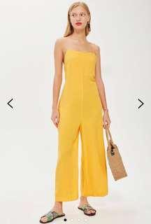 Topshop 90s Linen Yellow Jumpsuit