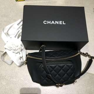 Chanel 香奈兒 黑金 荔枝皮 腰包