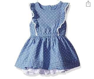 🚚 BN Cherokee Baby Girl Polkadot Chambray Dress 12mths avail!