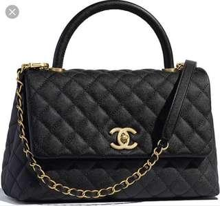 Authentic Chanel Coco Handle Black Caviar Med
