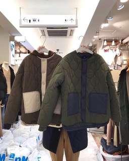 正韓 拼色菱紋車線鋪棉外套(售咖色)