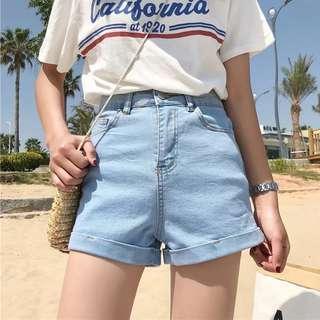 🚚 #096 korean tumblr aa cuffed denim shorts