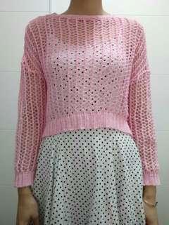 🚚 正韓粉色網紗罩衫