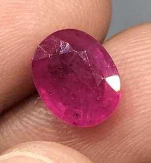 2.50 cts Natural African Ruby Oval 7 x 9.1 mm Loose Gem