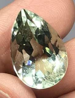 12.50 cts Natural Green Amethyst Pear 18.7 x 12.6 mm Loose Gem