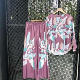 Batik printed long top with pants (NEW) free size