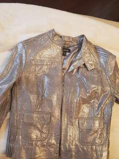Bebe silver leather jacket