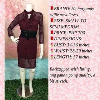 HQ BURGUNDY LACE CRICHET RUFFLE NECK DRESS