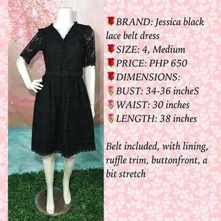 JESSICA BLACK LACE BELT DRESS