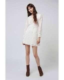 Topshop Vintage V-neck White Lace Dress