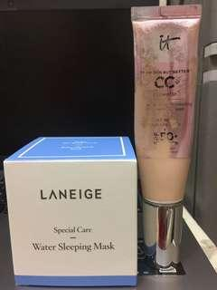 Laneige Water sleeping mask and IT CC