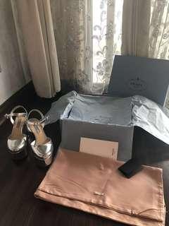 Authentic Prada Silver Mirror Leather Platform heels