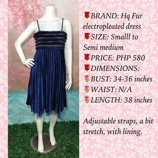 HQ FUR ELECTROPLEATED DRESS