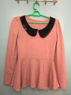 Peplum Top Peach Color