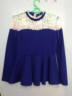 Lace Peplum Blue Top