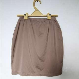 Tube mini skirt in brown taupe