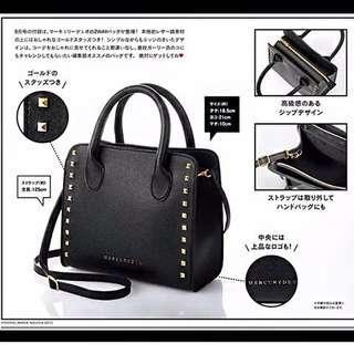 雜誌袋-MERCURYDUO黑色鉚釘側背手提包