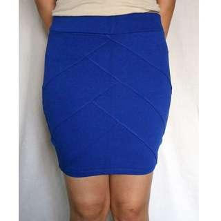 Ultramarine blue tube skirt with chevron detail