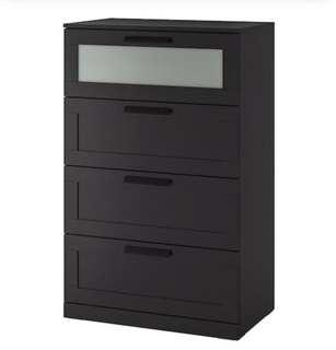 Black wooden 4 drawer dresser