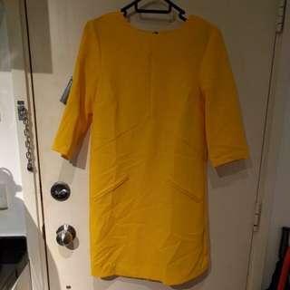 Warehouse yellow shift dress